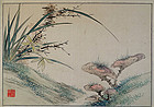Orchids & lingzhi; colours and ink on silk by Qing monk Xuecha