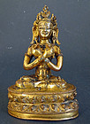 Fire gilt bronze image of Buddha Vajradhara; Tibet, 16/17th cent
