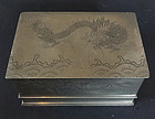 Rectangular pewter (baitong) box engraved with dragon & bamboo