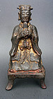 Bronze figure of a Daoist official holding a tablet. Ming