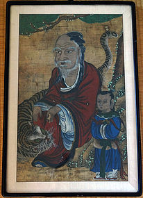 Antique & charming painting of the Mountain God (Sansin). Choson