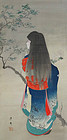 Charming painting of a young girl. Signed: Nobumaru. Meiji