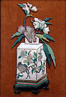 Decorative enamel placque decorated with flowers & bird. Qing
