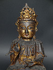 Ming, Wanli period Guanyin, bronze with lacquer gilding.