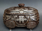 Large, Rare SILVER-INLAID IRON BOX  with 8 Buddhist symbols. 19th c.