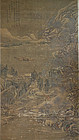 Very large scroll painting depicting winter landscape. Apocryphal.