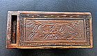A carved boxwood seal box for the scholar�s table.