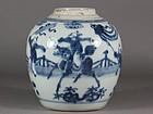 Superb Chinese Porcelain Kangxi Blue & White Jar 18th C