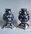 Fine Pair of Fukugawa Dragon Vases Meji