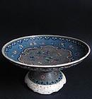 Japanese Totai Shippo Cloisonne Pedestal Dish Meji c.1880