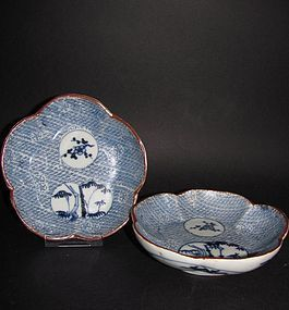Pair of Arita Cherry blossom and Waves Inban Katagamizuri Dish c.1700