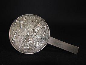 Japanese Nami ni Usagi Bronze Mirror Edo 17C