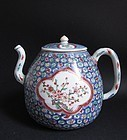 Rare Chinese Wucai Large Ewer Transitional Ming Qing c.1640-60