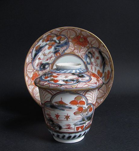 Imari Chocolate Cup, Cover and Saucer Early 18th Century