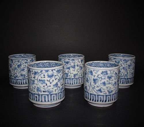 Set of Five Ko Imari Hagi Karakusa Sake Cups c.1750-80
