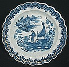 Caughley Fisherman Plate c. 1780 - 1785
