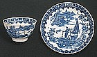 Caughley Fisherman Cup and Saucer c 1780 - 1785