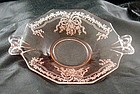 "Fostoria ""June"" Pink Glass Handle Serving Tray Plate"