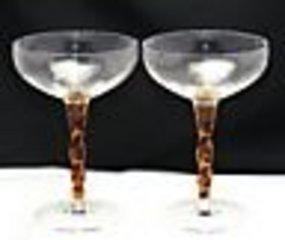 Morgantown Optic Princess Twist Wine Stems ~V. Rare