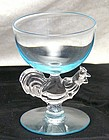 Morgantown Chanticleer Rooster Blue Novelty Wine Stem