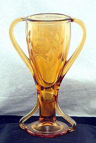 Fostoria Sakier Tut Deco Glass Trophy Vase w Cut Roses