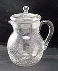 Morgantown Arctic Crackle Glass Pitcher with Lid ~Rare