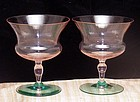 Art Deco Blown Fine Panel Pink and Green Wine Stems