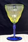 Vaseline Rib Optic and Cobalt Wine Stem w Twist