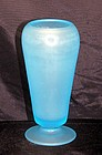 Tiffin Satin Sky Blue Glass Cupped Dahlia Vase  ~Lovely
