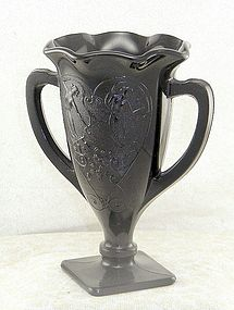 L E Smith Black Ebony Trophy Vase w Dancing Women
