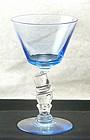 Morgantown Knickerbocker Top Hat Blue Wine Stem