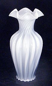 Fenton Blue Grey w White Cased Glass Melon Swirl Vase