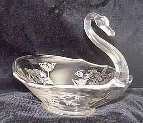 Duncan & Miller Swan Bowl with Silver Overlay Poppies