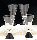 Ebony Black Geometric Pedestal Art Deco Wine Stems