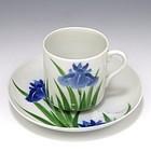 Nishiura Enji Japanese Iris Egret Tea Cup and Saucer