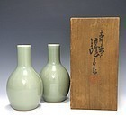 Seifu Yohei III Celadon Tokkuri Set with Box