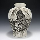 Fukagawa Artist Signed Landscape Vase with Box