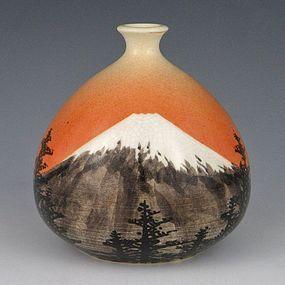 Okumura Shozan Meiji Japanese Kyoto Fuji Vase