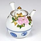 Seifu Yohei III Polychrome Peony Teapot with Fuji Finial & Box