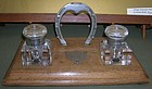 Antique English Horse Shoe Inkwell Set on Wooden Base