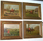 19th Century Fox Hunting Series Oil Paintings Set of 4