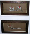 c1912 Fox Huntsman Hounds Watercolor Gouche Paintings
