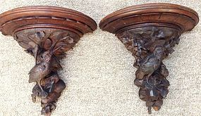 LARGE ANTIQUE BLACK FOREST WALL SCONCES SHELVES