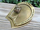 EARLY ENGLISH BRASS FOX HORSE SHOE DESK CLIP