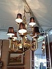SOLID BRASS FOX HUNTING  HORN CHANDELIER 9-Light Dbl Tier