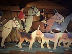 VINTAGE FOX HUNTING HOUNDS COMICAL DUMMY BOARD SET DIE CUT