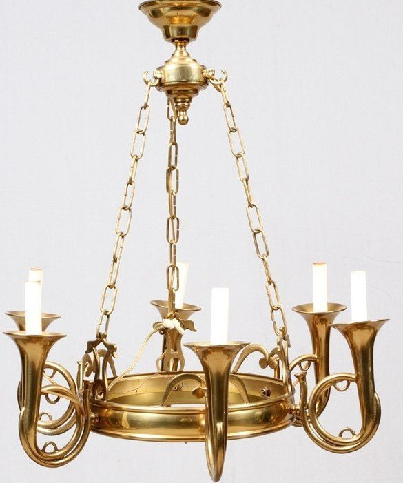 SOLID BRASS 6 ARM FOX HUNTING HORN CHANDELIER VINTAGE