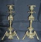 Edwardian Brass Horse Leg/Hoof Tripod Candlesticks