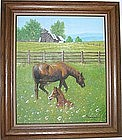 Mare and Foal Original Oil Painting-Signed By Artist