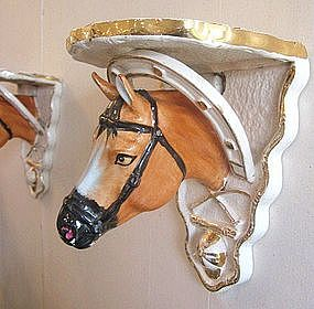 Antique  Pair Staffordshire Horse Head Sconces